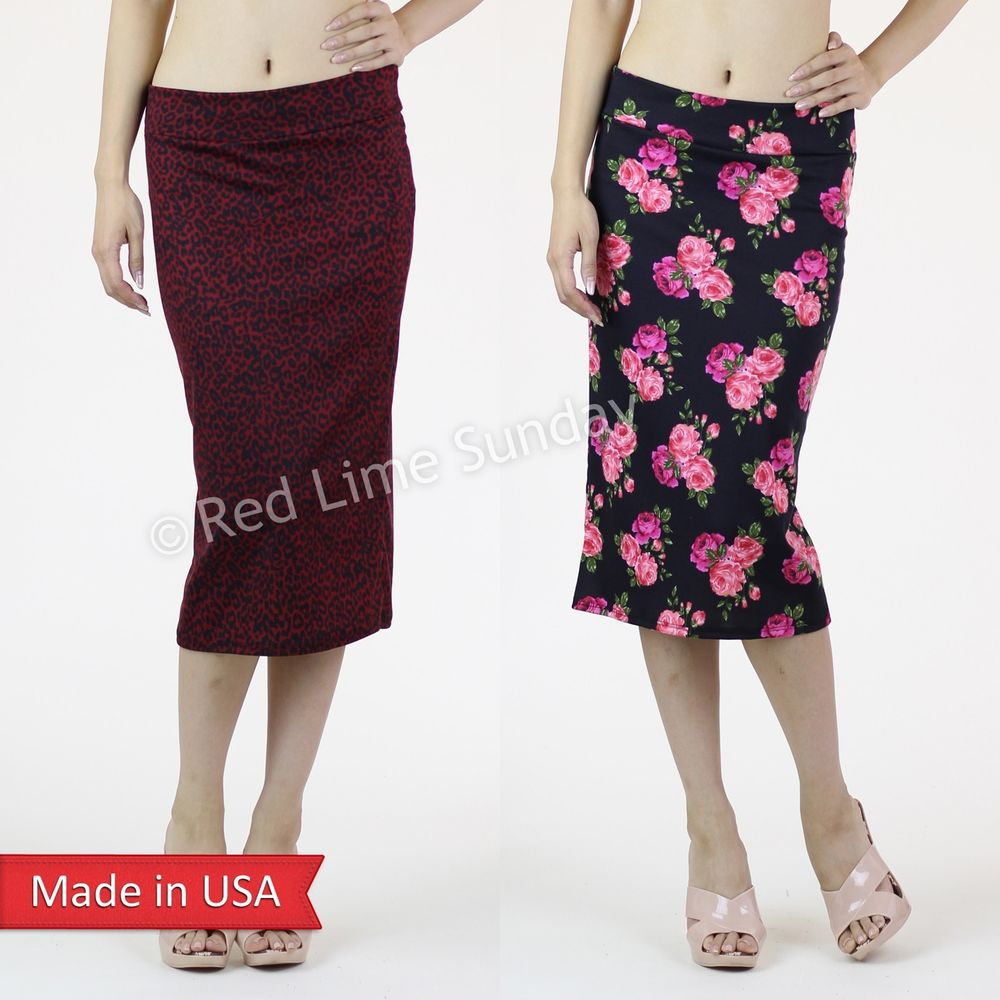 New Floral Animal Print Straight Sexy Knit Slim Fitted Pencil Skirt Made is USA