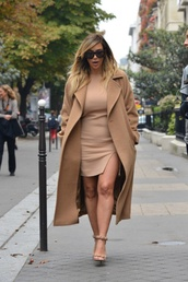 coat,kim kardashian,dress,all nude everything,camel coat