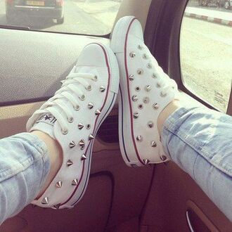shoes white converse studded stud converse white shoes red stripe