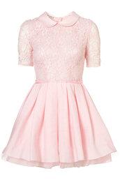 dress,pink dress,pastel,pink,kawaii,lace,peter pan collar