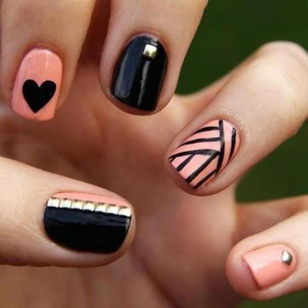 nail polish coral black pink
