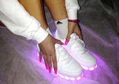 shoes,adidas,lightup,sneakers white,tennis shoes,glow in the dark,glow in the dark shoes