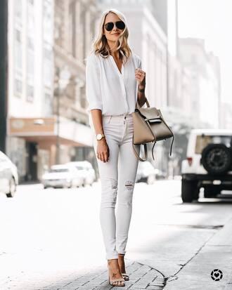 shirt tumblr white shirt denim jeans white jeans skinny jeans sandals sandal heels high heel sandals bag nude bag aviator sunglasses shoes