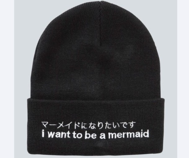 hat beanie black i want to be a mermaid mermaid drop dead clothing drop dead clothing sea creatures