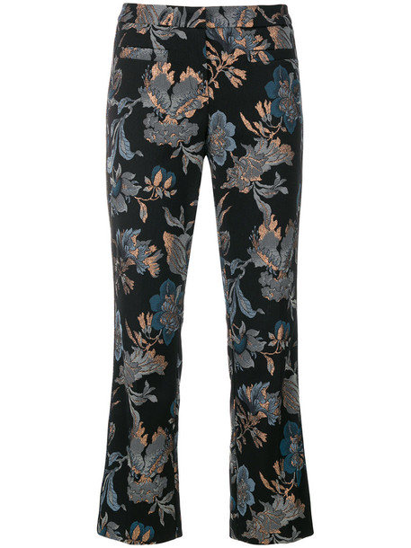 embroidered cropped women spandex floral cotton black pants