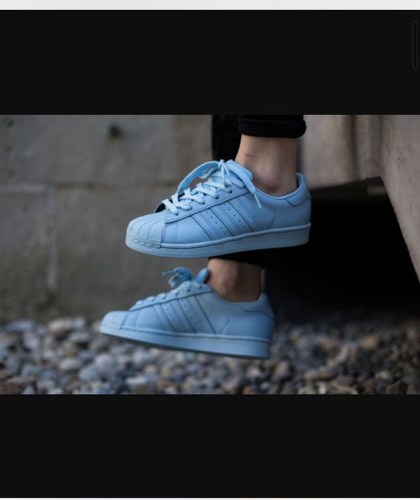 88d71fcbf7b77 ... Adidas Superstar 1 Pharrell Supercolour Clear Sky Blue - His trainers  ...