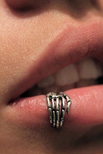jewels lip ring piercing ring skull lips skeleton skeletal hand creepy