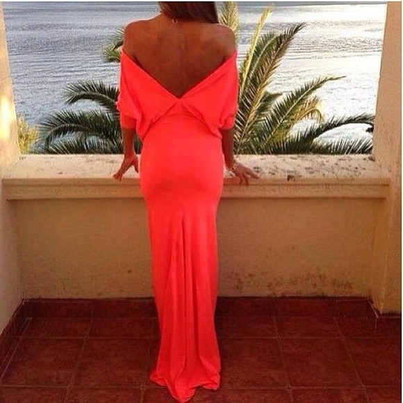 orange dress off the shoulder dress