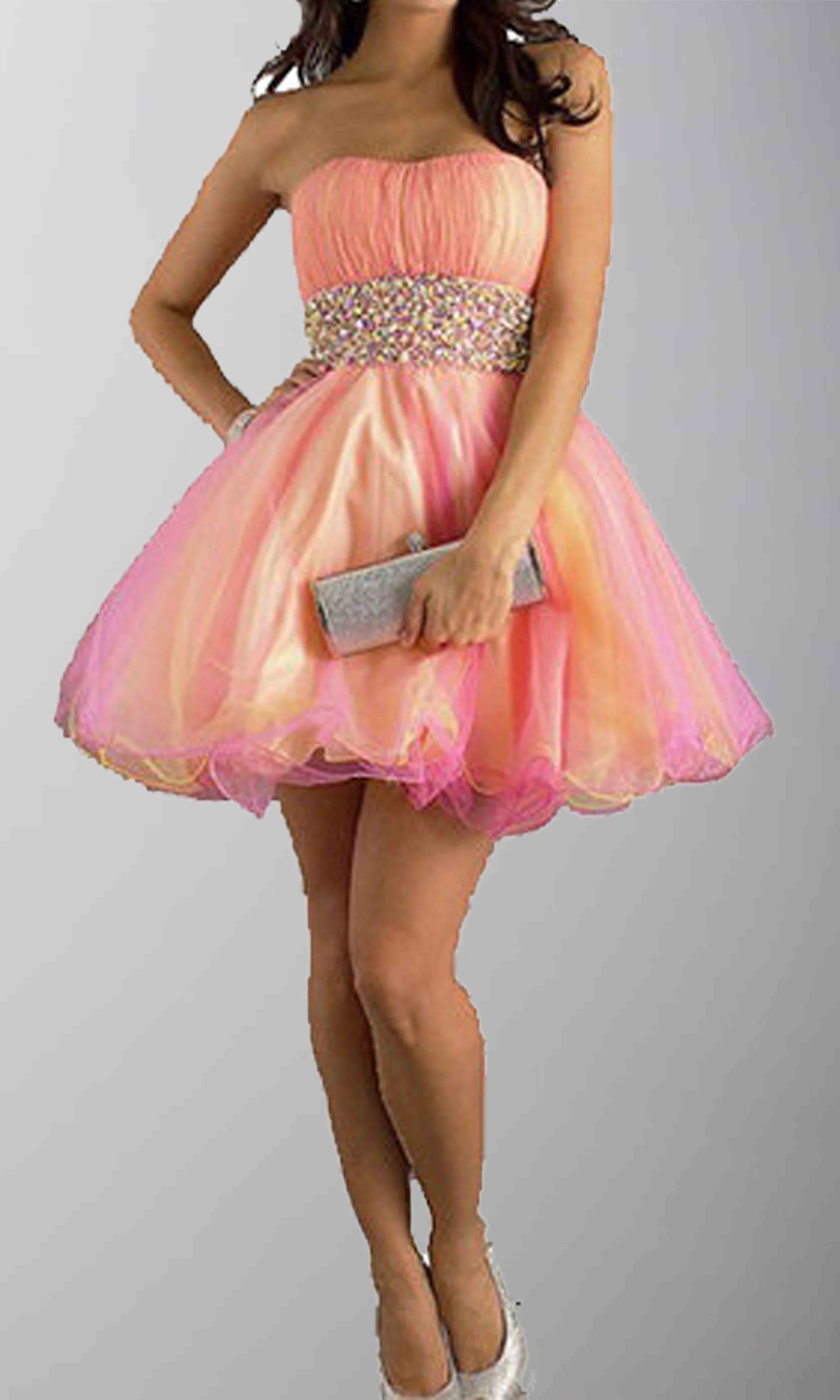 Rainbow Strapless Rhinestones Short Organza Prom Gowns KSP283 ...