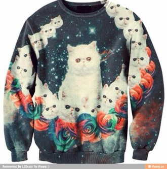 sweater cats pullover psychedelic trippy cats space space cats