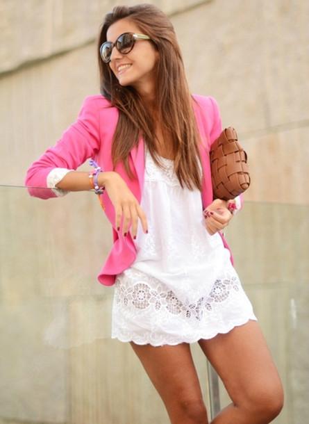 dress white girly pink blazer white dress chic jacket