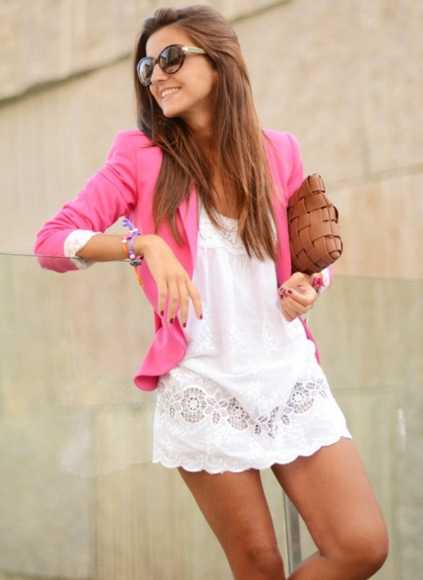 dress white girly pink blazer white dress chic jacket
