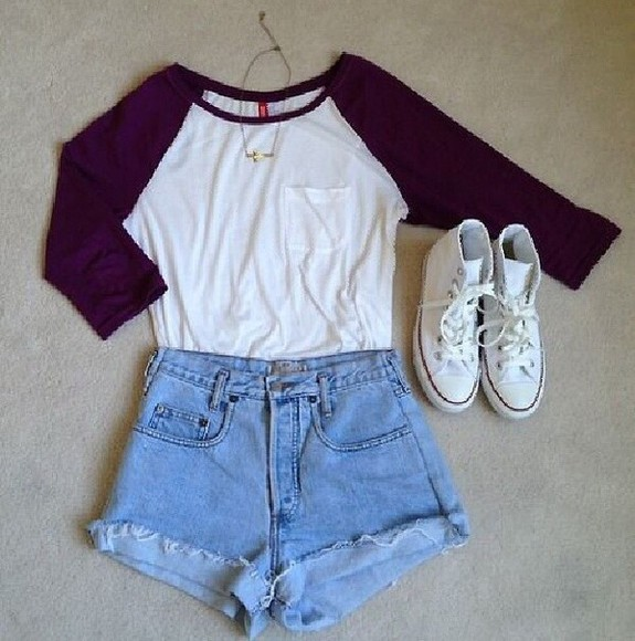 t-shirt High waisted shorts