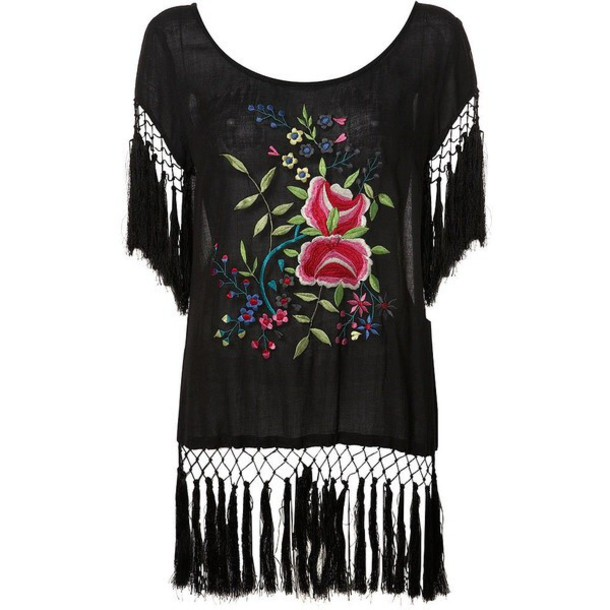 blouse embroidered roses black pink fringes hippie topshop floral