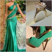 dress,shoes,ring,jewelry,gown,long dress,green dress,green shoes,high heels,cute high heels,fashion