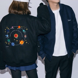 jacket planets outer space cute cold windbreaker
