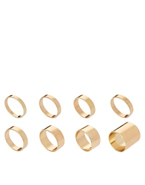 ASOS | ASOS Pack of 8 Smooth Rings at ASOS