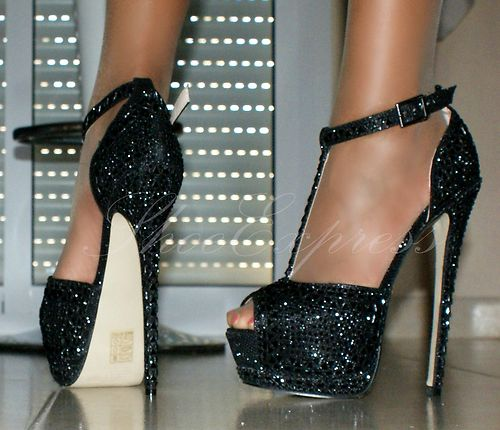 WOMENS NOTICE-ME STYLE T-BAR ANKLE STRAP BLACK HIGH HEEL PARTY SHOES SIZE 2-7 | Amazing Shoes UK