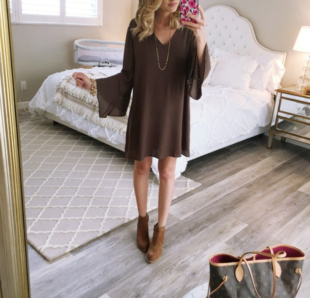 aspoonfulofstyle blogger shoes long sleeves brown boots brown dress date outfit bell sleeves