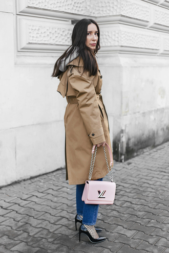 coat tumblr camel camel coat trench coat bag pink bag chain bag louis vuitton louis vuitton bag denim jeans blue jeans tights net tights fishnet tights pumps pointed toe pumps high heel pumps black heels fall outfits designer bag french girl style