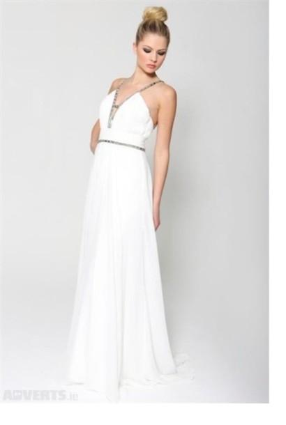 de081d642f77 dress white chiffon plunging spaghetti strap embellished beading white prom dress  maxi dress plunge dress v