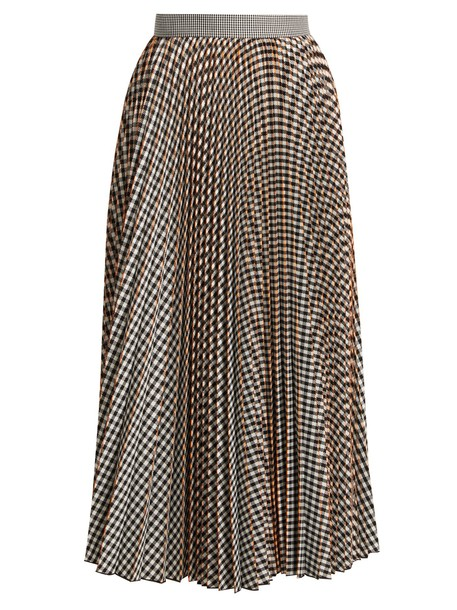 MSGM skirt pleated gingham white black