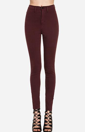 Dailylook: high waist skinnies in burgundy 5
