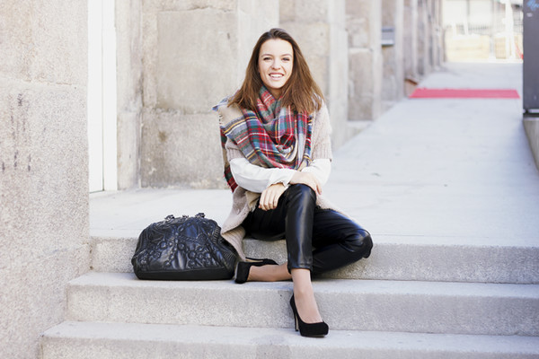 miss tangerine coat pants shirt shoes scarf