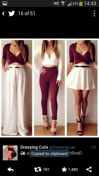 burgundy strappy mid sleeve blouse burgundy crop top jeans top burgundy white pants