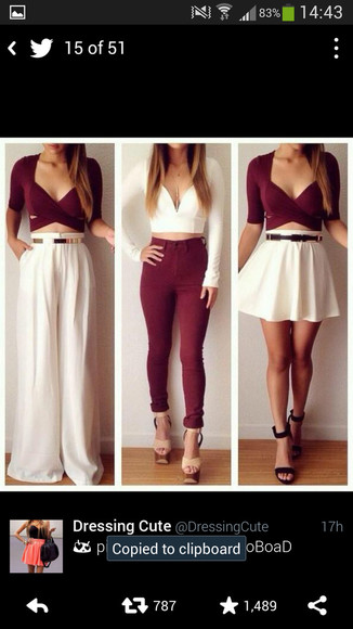 white pants burgundy strappy mid sleeve burgundy crop top blouse jeans top burgundy