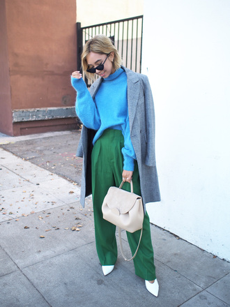 sweater tumblr blue sweater knit knitwear knitted sweater turtleneck turtleneck sweater coat grey coat pants green coat bag