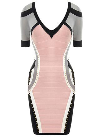 pink dress grey dress pink maxi dress bodycon dress bandage dress dress make-up mascara