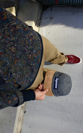 hat,supreme,red,sweater,cargo pants,knaki,clothes,pants,menswear,shirt,pattern shirt,long sleeve shirt