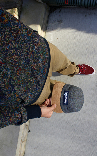 hat supreme red sweater cargo pants knaki clothes pants menswear shirt pattern shirt long sleeve shirt