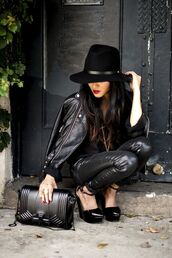 pants,shirt,hat,shoes,bag,black,leather,chic,edgy,cute,swag,heels,outside,hair,leather jacket,fedora,wedges