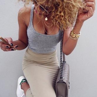 skirt kaki top grey outfit