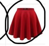 skirt,red skirt,skater skirt,burgundy skirt