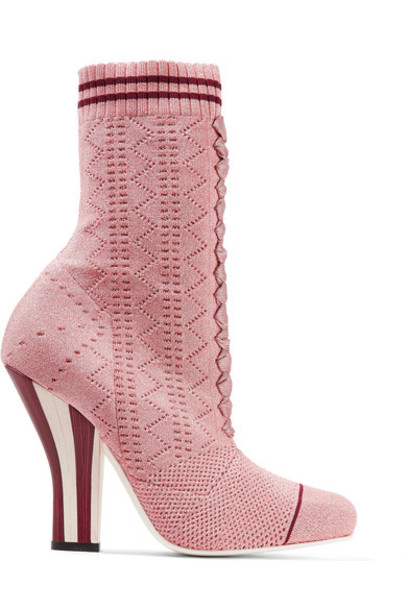 Fendi sock boots metallic baby knit pink baby pink shoes