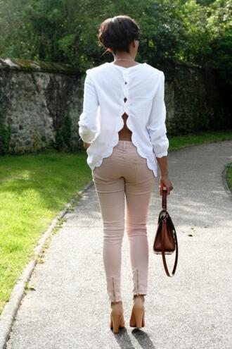 blouse dos pants white jeans white blouse scalloped white blouse shirt scallop blouse long sleeve white blouse open back blouse top casual