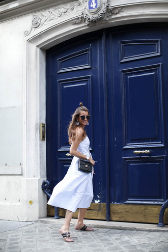 b a r t a b a c blogger dress bag sunglasses midi dress white dress chanel bag sandals