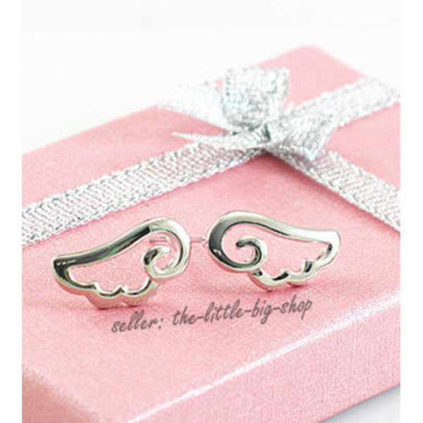 jewels earrings silver wings girly elegant alloy