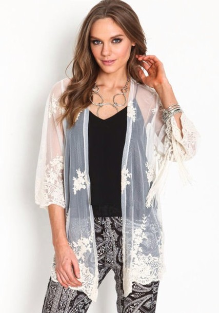 Cardigan: white cardigan, kimono, lace cardigan, mesh, embroidered ...