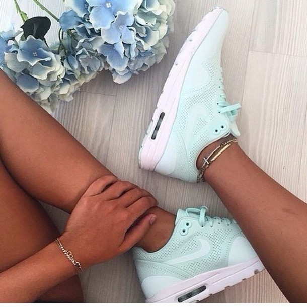 shoes mint nike tiffany blue trainers  love pretty girls jewels nike running shoes nike sneakers