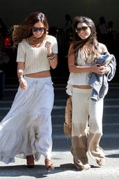 knitwear,large,vanessa hudgens,brown pants,yellow pants,skirt,pants