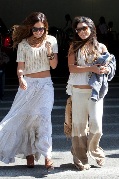 brown pants yellow pants knitted large vanessa hudgens skirt