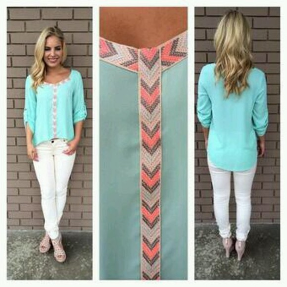 shirt cute skyblue patterned spring fashion bright shopping sky blue blouse mint