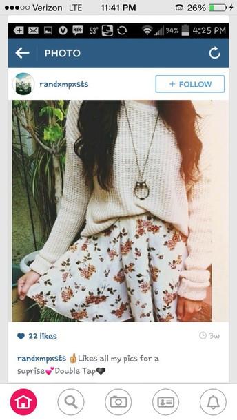 skirt roses flowers white short