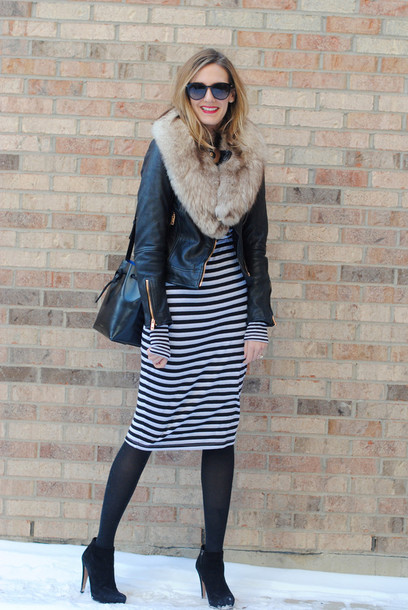 see jane blogger long sleeve dress striped dress fur scarf dress jacket shoes