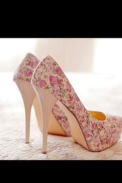 shoes,heels,fleurs,style,pink,nude,flowers,shoes with flower,fleurie,beautiful shoes,pink flowers,nude shoes,creme,bag,romantic,spring,floral shoes,high heels,floral,pattern,cute high heels,floral high heels,white high heels,white,classy,sweet,summer shoes,pink high heels,flower shoes,floral print shoes,platform shoes,platform high heels,cute,girly,princess,liberty,roses,kawaii,spring shoes,we need them,everybody wants,pink flower shoes