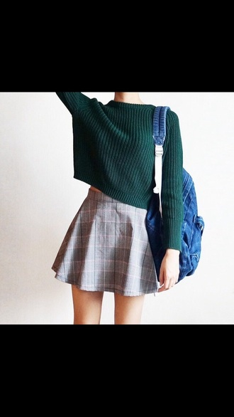 skirt jumper crop cropped jumper knit checkered skirt sweater tumblr bag blue green sweater green